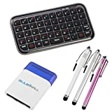 BIRUGEAR Black Bluetooth Wireless Mini Keyboard+Pen Style Stylus (Silver/Pink/White)+Blue Mini Brush for Samsung GALAXY S2 / SII I9100;HTC Sensation 4G;Acer Iconia A500 ,W500; eLocity A7 Tablet;Vizio 8-inch Tablet ;Toshiba Thrive;Lenovo K1 Ideapad