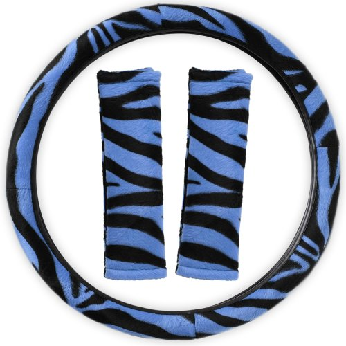 Oxgord Zebra Steering Wheel Cover And Seat Belt Pad Set For The Bmw 640I Convertible In Electric Blue & Black Zebra Print