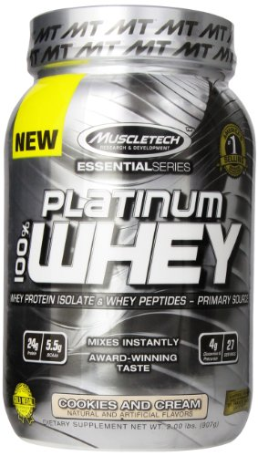 MuscleTech Platinum 100% Whey Protein Powder,  Cookies and Cream,  2.0 lbs (907g) (Platinum Pre Workout Powder compare prices)