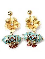 Aarya 24kt Gold Foil Flower Mina Drop Earring Dangler For Women - B00LBZRVZA