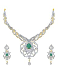 Sukkhi Modern Emerald Studded Gold And Rhodium Plated CZ Necklace Set