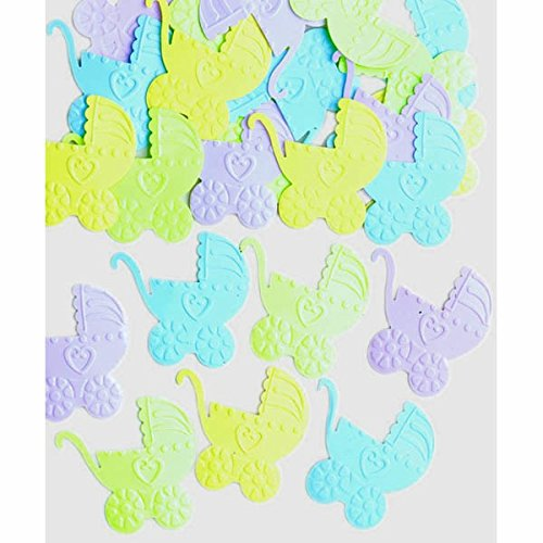 Amscan Delicate Baby Carriages Embossed Party Confetti Mixes, 1.2 oz, Multi