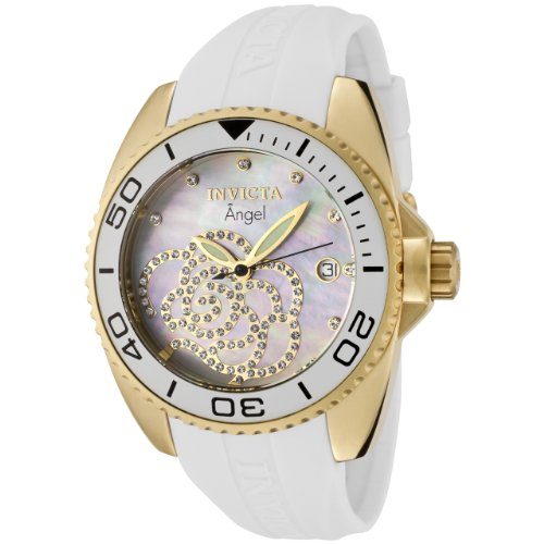 Invicta Women's 0488 Angel Collection Cubic Zirconia Accented Polyurethane Watch