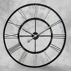 Extra large metal skeleton wall clock with silver numerals Extra large clocks walls