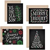 Set of 12 Christmas Cards - Chalk Art Holiday Pack (12 Christmas Cards + Envelopes) - 4 Unique Chalkboard Designs - By Palmer Street Press