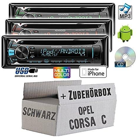 Opel corsa c, noir-kenwood kDC - 364U-cD/mP3/uSB avec kit de montage