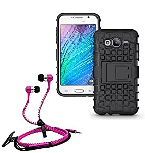 Droit Shock Proof Protective Bumper back case with Flip Kick Stand for Samsung ON5 + Stylish zipper hand free for all smart phones by Droit Store.