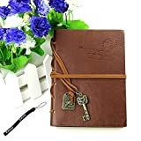 Estone Classic Retro Vintage Leather Bound Blank Pages Journal Diary Notepad Notebook (Coffee)