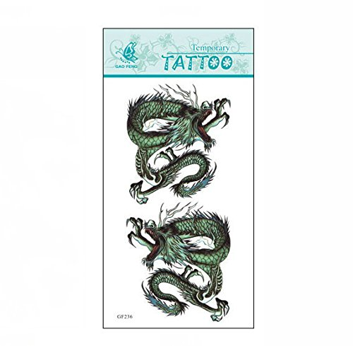 SYZ Beauty Waterproof Temporary Tattoos Two Chinese Dragons Tattoos