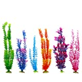 "LGI Plastic Aquarium Fish Tank Grass Plants Ornament Décor, 6-Piece, Assorted Color 12 to 14"" long"
