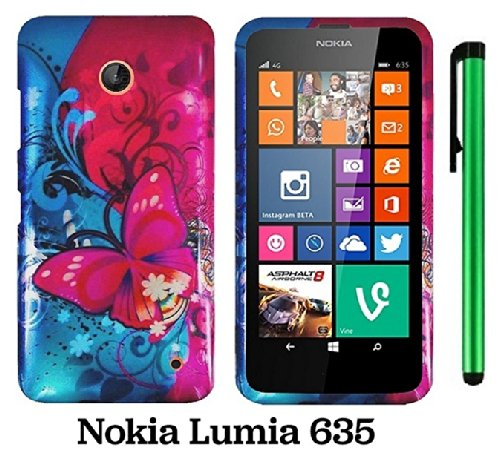 Nokia Lumia 635 (Us Carrier: T-Mobile, Metropcs, And At&T) Premium Pretty Design Protector Cover Case + 1 Of New Assorted Color Metal Stylus Touch Screen Pen (Pink Butterfly Bliss Blue Swirl)