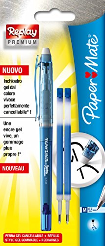 paper-mate-replay-premium-stylo-gel-effacable-pointe-moyenne-bleu-2-recharges-bleues