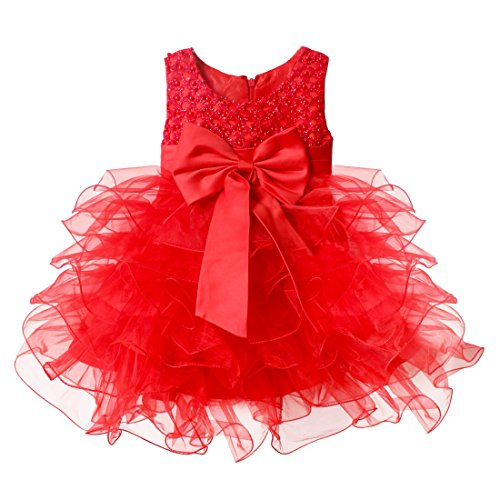 YiZYiF Baby Girls' Communion Pageant Wedding Princess Flower Dress Red 3-6 Months