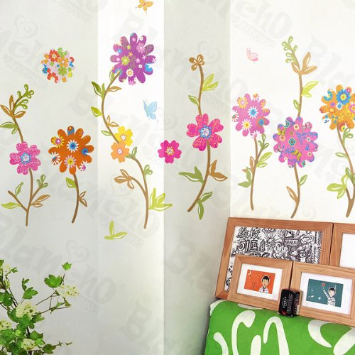 Flying Flowers 2 - X-Large Wall Decals Stickers Appliques Home Decor