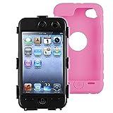 eforCity Hybrid Case for iPod touch 4G (Black Hard/Pink Skin)