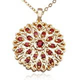 18k Yellow Gold Plated Sterling Silver Garnet Pendant, 18&#34;