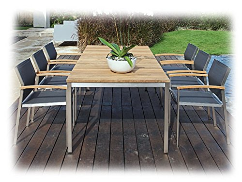 NAXOS & SETAX Gartenmöbel Sitzgruppe E 7-teilig Gartenset Zebra Teak recycelt & Batyline Anthrazit