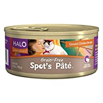 Halo Spot's Pate Holistic Grain Free Wet Cat Food, Ground Chicken, 5.5 OZ of Canned Cat Food and Kitten Food, 12 Cans