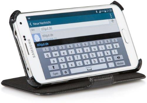StilGut UltraSlim Case V2, custodia con funzione di supporto per Samsung Galaxy S5 & S5 Neo, nero vintage