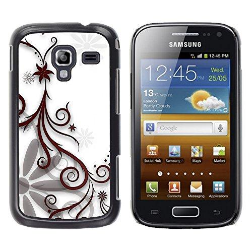 TORNADOCOVER Smartphone Handy Schwarz Hart Schutz Hülle Bild Case Etui Cover Schale für Samsung Galaxy Ace 2 I8160 Ace II X S7560M - entwerfen floral weiß