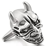 Mens 2 PCS Rhodium Plated Cufflinks Silver Tone Black Devil Skull Gothic Shirt Wedding Business 1 Pair Set