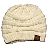 Winter White Ivory Thick Slouchy Knit Oversized Beanie Cap Hat,One Size,Ivory
