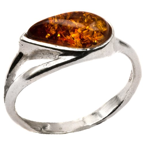 Baltic Light Honey Amber Sterling Silver Frozen Drop Ring Size 6