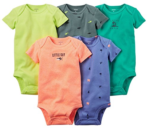 Carter's Baby Boys' 5 Pack Bodysuits (Baby) - Bright Solid 12M