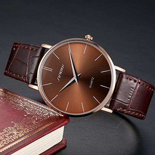 Bamoer Men Women Fashion Pu Leather Watches Business Casual Wristwatch (Brown 1)