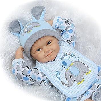 NPK 22inch 55CM Lifelike Reborn poupée bébé Doll réaliste Nouveau-né Baby Silicone Playmate bon marché Vinyle cadeau garcon Jouet pas cher yeux ouvert