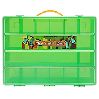 Lego Minecraft Mini Figure Compatible Storage Case with Carrying Handle- MyCraft Bin Carrying Case Holds 100's of Minecraft Mini Toys, Great for Minecraft Mini Figures Collectors by Life Made Better