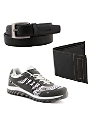 Elligator Gray & White Stylish Sport Shoes With Belt & Wallet For Men's