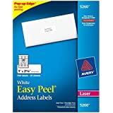 Avery Easy Peel Address Labels for Laser Printers, 1 x 2.625 Inches, White, Pack of 750  (5260)