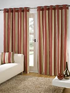 """Striped Cotton Mix Ring Top Lined Red Brown Beige Cream 90"""" X 72"""" Thick Curtains *wotsdap* by PCJ SUPPLIES"""