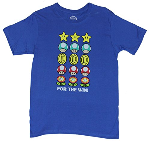 "Super Mario Brothers Mens T-Shirt -""For the Win"" Stars Mushrooms Coins & Flowers"