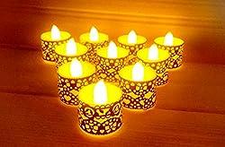 Lilone (Set of 6) Flicker Yellow Tealight Designer LED Candle, Battery Operated Festival Decor: Ganesh Chaturthi Navratri Lohri Diwali Christmas New Year