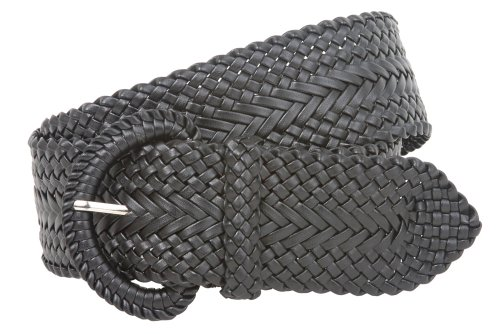 2 Inch Wide Hand Made Soft Metallic Woven Braided Round Belt Color: Black Size: L/XL - 45 END-TO-END