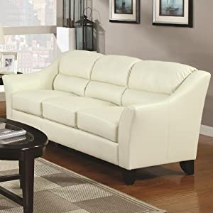 Amazon Brooklyn Contemporary Ivory Bonded Leather
