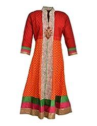 Global Women's Cotton Anarkali Kurta (GW78RedXL015, Red, XL)