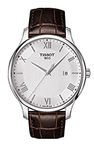 Tissot Tradition Gents Brown Leather Stainless Steel Mens Watch T0636101603800