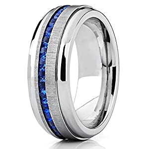 Men's Titanium Wedding Band Engagement Ring W/ Blue Simulated Sapphire Cubic Zirconia Princess CZ 11