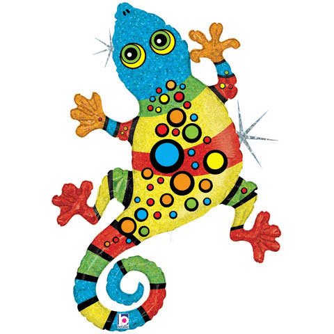 "Rainbow Spots Linky Gecko 47"" Mylar Balloon Large"
