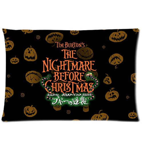 Generic The Nightmares Before Christmas Pumpkins Retro Design Cotton And Polyester Rectangle Standard Zippered Pillowcases Case 20 By 30 Inch front-905380