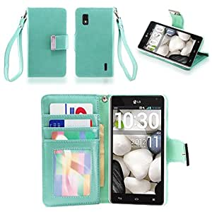 IZENGATE Executive Premium PU Leather Wallet Flip Case Cover Folio Stand for LG Optimus G E970 (AT&T Model Only) (Mint)