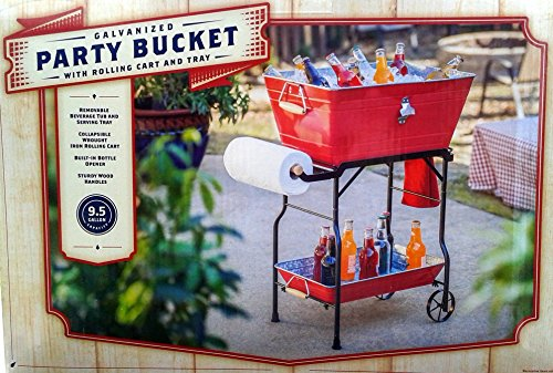 Galvanized Steel Party Beverage Bucket Tub 9.5 Gallon with Collapsible Wrought Iron Rolling Cart & Tray (Red) (Galvanized Steel Tray compare prices)