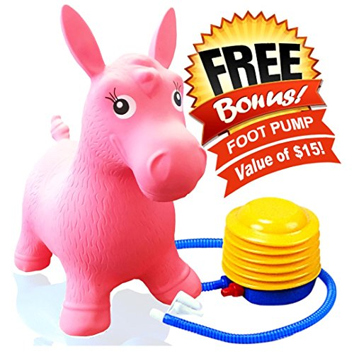 ToysOpoly Inflatable Horse Bouncer - Cutest Ride-on Bouncy Animal Hopper for Kids with Best Eco-friendly Rubber - Compatible with Gymnic Rody Toys: Bouncing Reindeer, and Hopping Ball (Pink) (Superstar Bounce House compare prices)