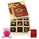 Valentine Chocholik Premium Gifts - Marvelous Treat Of Dark Chocolate Box With Teddy And Love Card