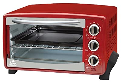 Kings Brand Red 6-Slice Toaster Oven- Toasts Bakes Broils Grills Roasts & Warming Oven by King's Brand