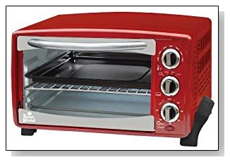 Red / Charcoal 6-Slice Toaster Oven- Toasts Bakes Broils Grills Roasts & Warming oven