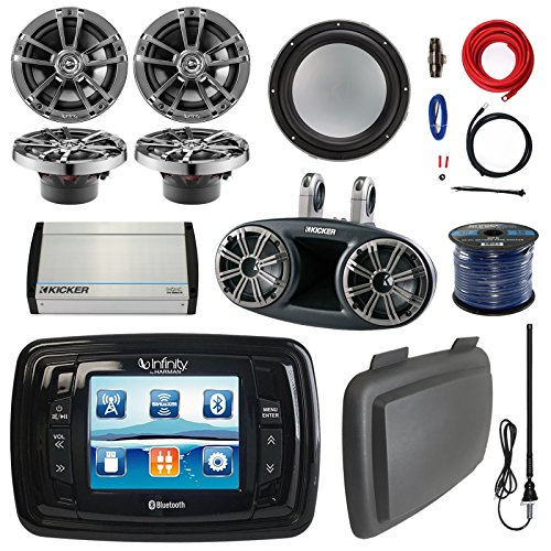 Infinity PRV350 Marine Bluetooth Stereo Receiver W/ Cover, Bundle Combo With 4x 6.5